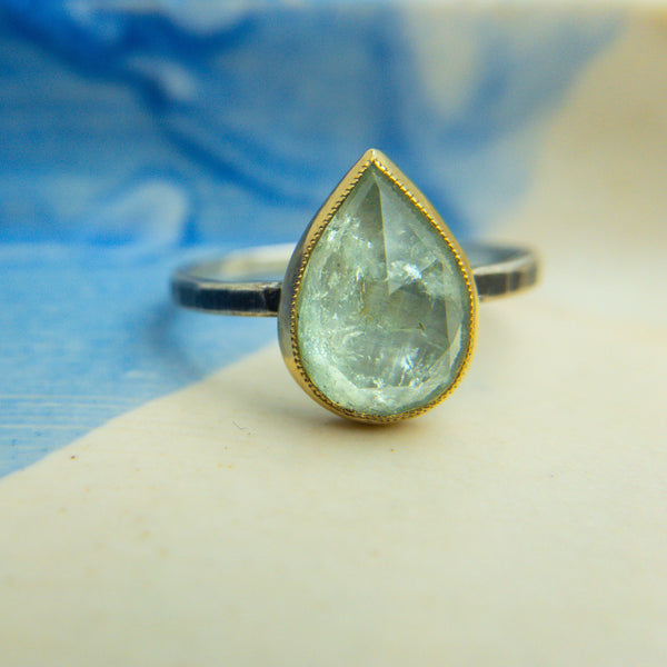 Sterling Silver, 14k Yellow Gold, & Aquamarine Ring - Jen Leddy - Jen Leddy jewelry - Jen Leddy studios - gallery of jewels jen leddy - gallery of jewels jewelry