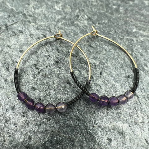 Yellow Goldfill and Oxidized Sterling Silver Hoop Earrings with Amethyst Beads - FEBRUARY GEMSTONE BIRTHSTONE
