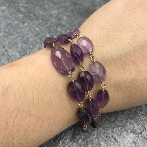 Yellow Goldfill Wrap Bracelet / Necklace with Amethyst - GALLERY OF JEWELS
