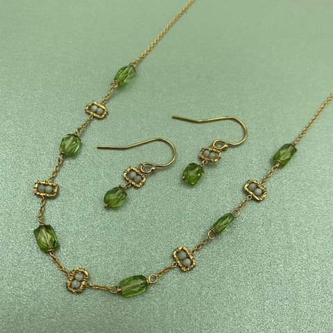 Gold Earrings Opal Beads and Peridot Gemstones. Adjustable Gold Necklace with Australian Opal Beads and Peridot - Michelle Pressler - Top Handcrafted Jewelry - Gallery of Jewels - San Francisco Jewelry