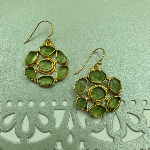 Vermeil Earrings with Clusters of Rosecut Peridot Gemstones - Manjusha Jewelry - Gallery of Jewels - Noe Valley Gallery