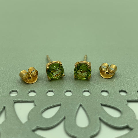 Vermeil 4 Prong Stud Earrings with Peridot Gemstones - Manjusha jewelry - Handcrafted Earrings - Gallery of Jewels - Noe Valley Gallery of Jewels