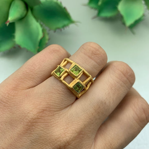 Vermeil Ring with an Organic Open Grid Set with Princess Cut Peridot Gemstones - - Manjusha - MNJS1737 - Noe Valley Gallery - San Francisco Jewelry Shop - Gallery of Jewels