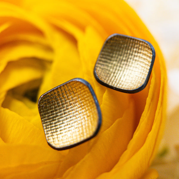 18k Yellow Gold & Sterling Silver Stud Earrings. By: Owen McInerney WNRN2169 - gallery of jewels - mothers day gifts - mothers day jewelry