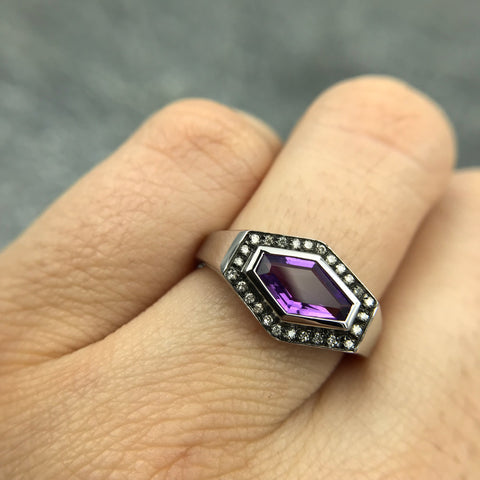 Black Rhodium Plated Sterling Silver Ring with Amethyst Gemstone - FEBRUARY BIRTHSTONE - GALLERY OF JEWELS