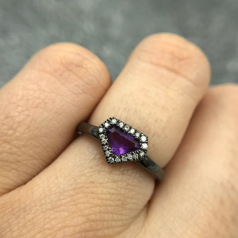 Black rhodium plated sterling silver ring - amethyst gemstone and diamonds - Mayson Jewelry - gallery of jewels