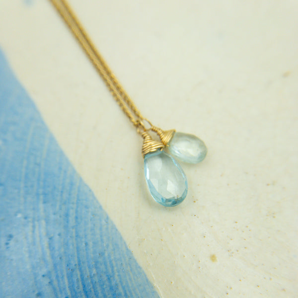 Goldfill, Blue Topaz, & Aquamarine Necklace - Sara Danielle - Sara Danielle jewelry - Sara Danielle necklace - gallery of jewels