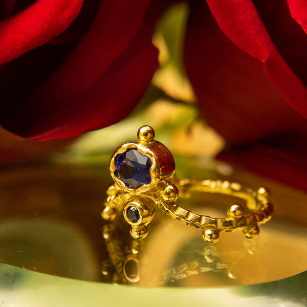 Svetlana Lazar - Svetlana Lazar jewelry - 18k Gold and Blue Sapphire Ring - Valentines Day Rings - Valentines Day Gifts for Wife Girlfriend Her - Gallery of Jewels