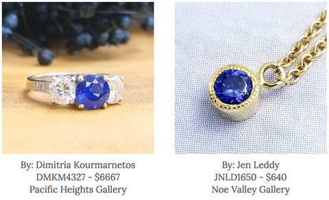 Dimitria Kourmarnetos jewelry - jen leddy jewelry - gallery of jewels - best jewelry in san francisco - sapphire jewelry in san francisco - september birthstone jewelry
