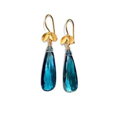 STEPHANY HITCHCOCK - Teal Hydro Quartz Gemstone Drop Earrings