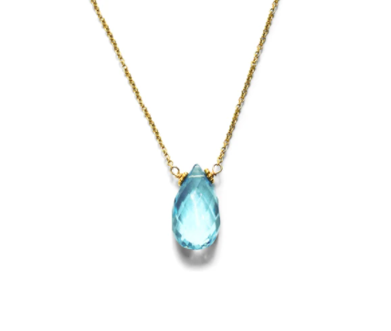 STEPHANY HITCHCOCK - Swiss Blue Topaz Gemstone Pendant Necklace