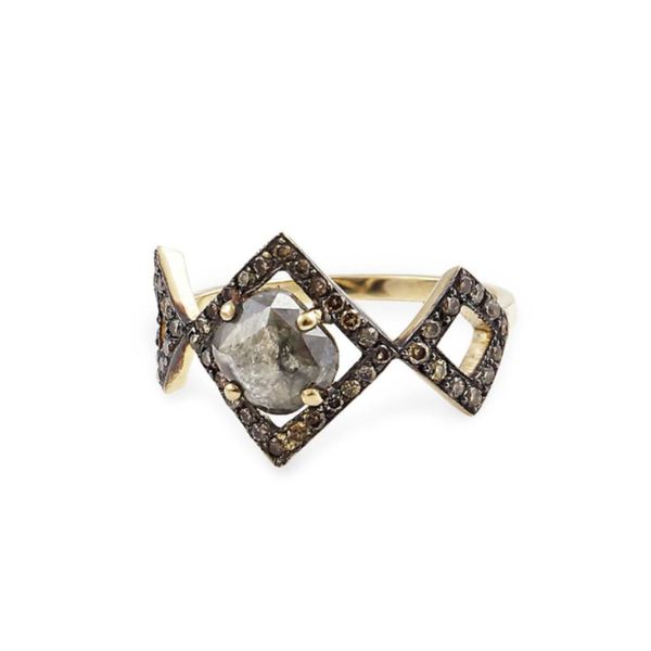 September Sale - 20% off sale - Harika Geometrical Ring w/ Stone & Diamonds - gallery of jewels