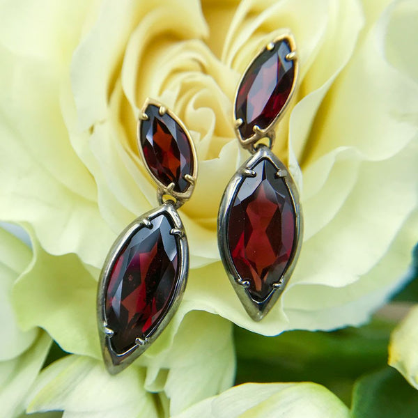 14k Yellow Gold & Black Rhodium Plated Sterling Silver Earrings with Garnets - Alberian & Aulde - Alberian and Aulde - Alberian and Aulde jewerly - gallery of jewels - san francsico jewelry shop