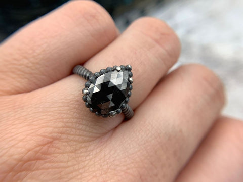 APRIL BIRTHSTONE - DIAMOND GEMSTONE - BLACK DIAMOND RING - SAN FRANCISCO JEWELRY - GALLERY OF JEWELS