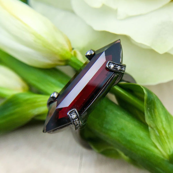 Black Rhodium-plated Sterling Silver Ring with a One of a Kind Garnet - Sethi Couture - Sethi Couture Jewelry - Best San francisco jewelry shop - top jewelry shop san francisco