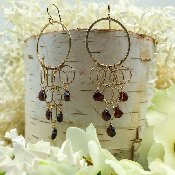 Goldfill and Garnet Earrings - Heidi Hodes - Heidi Hodes jewelry - Gallery of Jewels - san francisco fine jewelry - best jewelry in san francisco