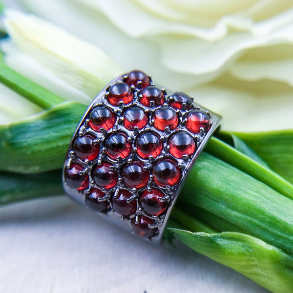 Black Rhodium Plated Sterling Silver Ring with Garnet Cabochons - Alberian & Aulde - Alberian & Aulde jewelry -  gallery of jewels - best san francisco fine custom jewelry - one of a kind jewelry san francisco