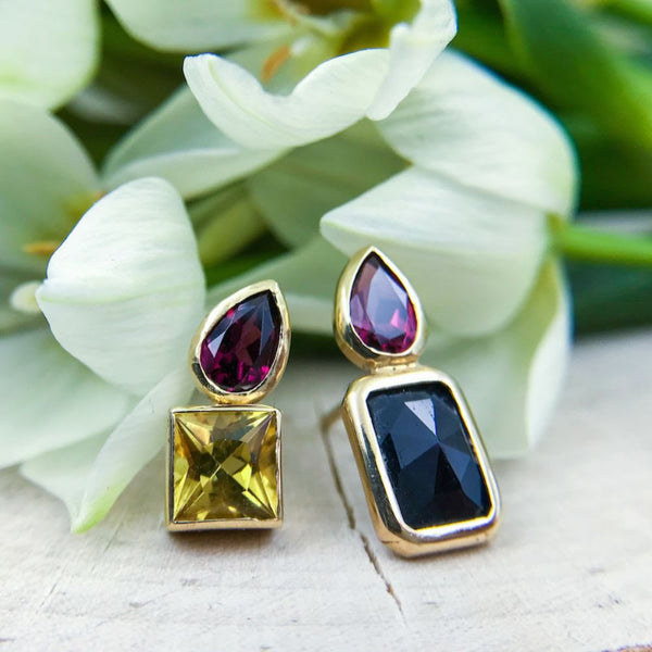 14k Yellow Gold, Black Sapphire, and Garnet Earring. 14k Yellow Gold, Citrine, and Garnet Earring - Leslie Paige - Leslie Paige leslie page jewelry - Leslie Paige fine jewelry - Leslie Paige earrings - gallery of jewels