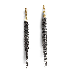 ALBERIAN & AULDE - 14k Gold & Black Rhodium Plated Sterling Silver Tassel Earrings