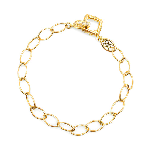 ALBERIAN & AULDE - 18K Gold & Diamond Square Latchet Bracelet