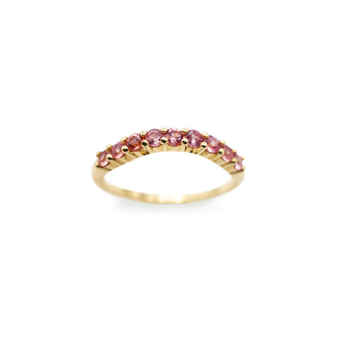 ALTANA MARIE -  Curved Half Eternity Band w/ Pink Sapphires