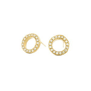 "ANNE SPORTUN - 18K Gold ""Open Lilydust"" Diamond Stud Earrings"