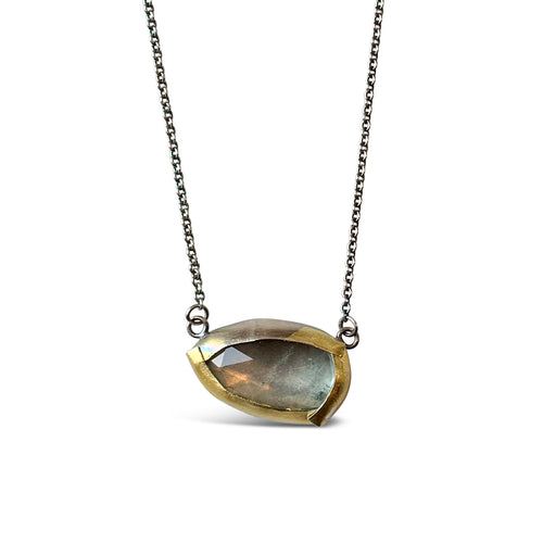 AUSTIN TITUS - Moss Aqua Simple Fold Necklace
