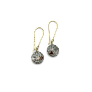 CLAUDIA BERMAN - Reticulated Silver & Garnet Earrings