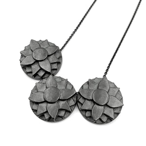 DIANE DEWEY - Oxidized Sterling Silver Necklace w/ 3 Floral Pendants