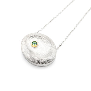 DIANE DEWEY - Silver Shield Necklace w/ Green Sapphire Set in Gold Bezel