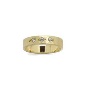 DIANE DEWEY - 14k Yellow Gold Band w/ Bead Set Diamonds