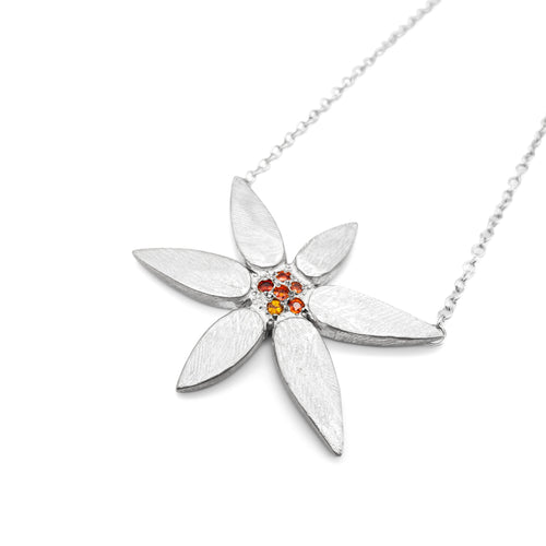 DIANE DEWEY - Silver Daisy Flower Necklace w/ Bead Set Orange Sapphires