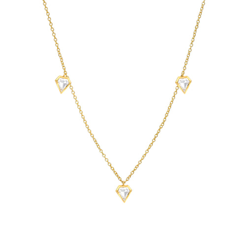 MEREDITH YOUNG - Three Diamond Shield Necklace