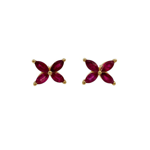 GEMMA COUTURE - Large Ruby Mariposa Studs