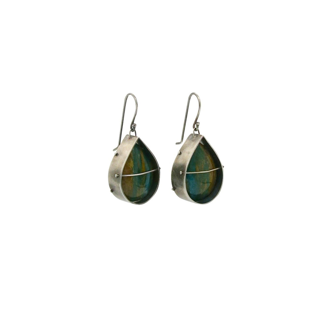 HILARY FINCK - Captured Opalized Wood Earrings