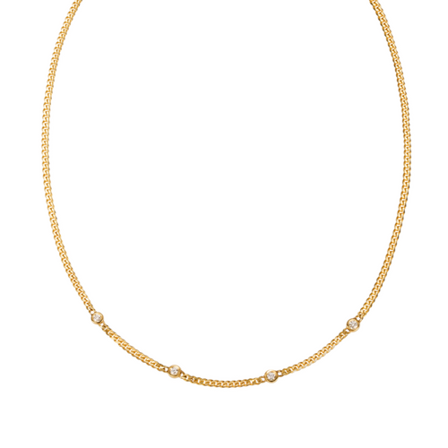 HANNAH G - 4 Diamond Curb Chain Necklace