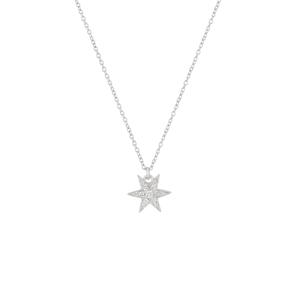 JOELY RAE - Star Solitaire Necklace in White Gold