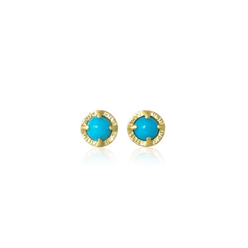JENNY WINDLER - Juju Stud Earrings w/ Sleeping Beauty Turquoise Gems