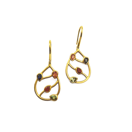 KANWAR - 18K YELLOW GOLD PEAR-SHAPE SAPPHIRE EARRINGS - Gallery of Jewels