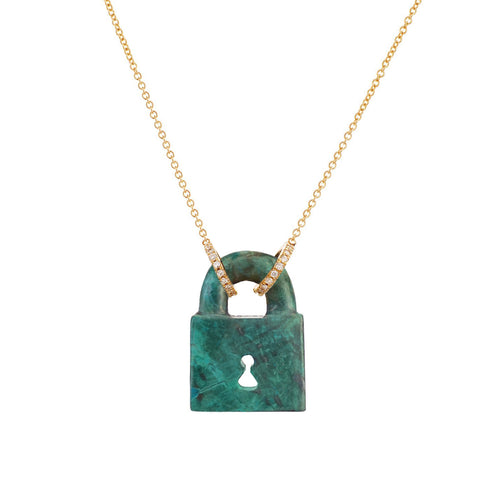 LEE JONES - Malachite Padlock Necklace