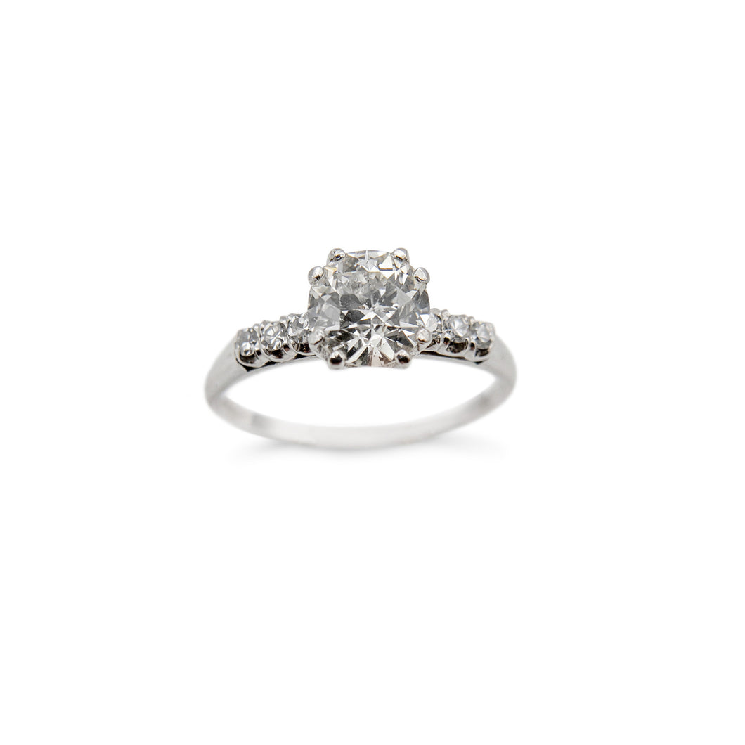 LOVE AND THE MAIDEN - Platinum Diamond Engagement Ring w/ Old European Cut Diamond