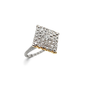 LOVE AND THE MAIDEN - Platinum & 14k Yellow Gold Edwardian Square Cobblestone Ring