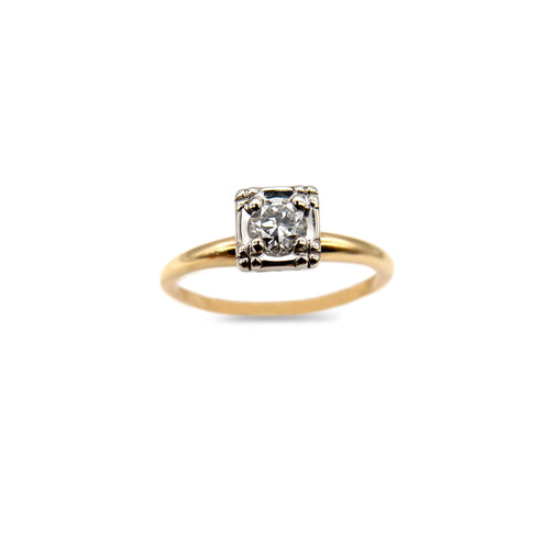 LOVE AND THE MAIDEN - 14k Yellow & White Gold Solitaire Ring