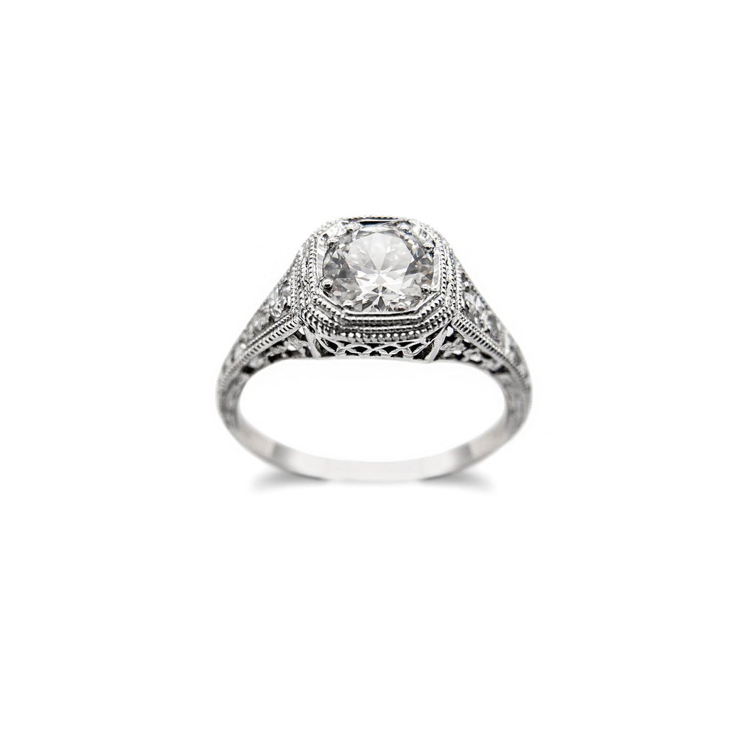 LOVE AND THE MAIDEN - Art Deco / Edwardian Platinum & Old European Cut Diamond Ring