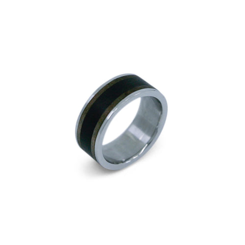 MERCURIUS - 14k Palladium White Gold Ring w/ Ebony & Walnut Inlays
