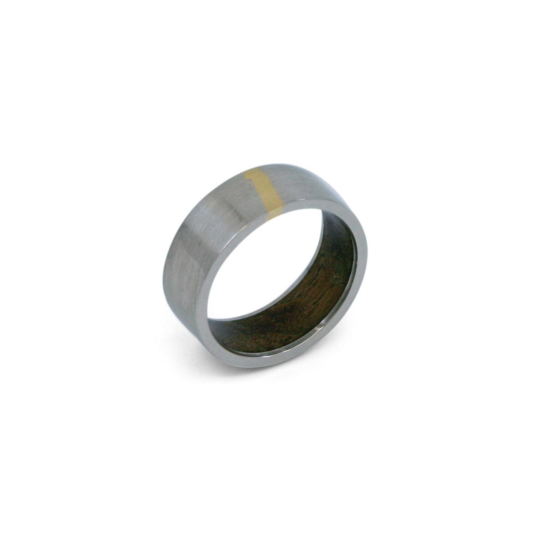 MERCURIUS - 14k Palladium White Gold Ring w/ Teak Inlay