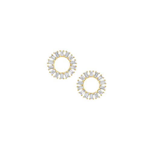 MEREDITH YOUNG - Open Baguette Circle Post Earrings