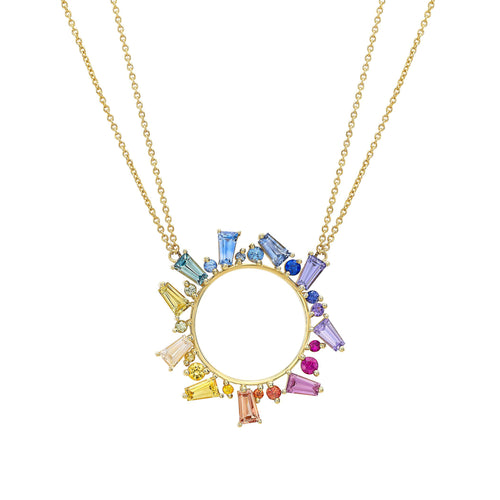 MEREDITH YOUNG - 18k Yellow Gold Open Circle Necklace w/ Rainbow Sapphires - Gallery of Jewels