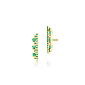 MEREDITH YOUNG - Long Emerald Post Earrings