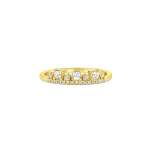 MEREDITH YOUNG - Three Stone Topaz Diamond Ring